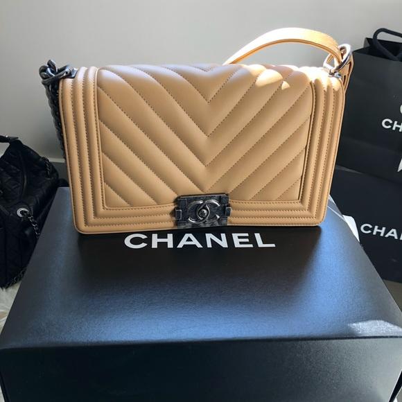 e980451fc185 CHANEL Bags | Auth Boy Bag Chevron Dark Tan Old Medium | Poshmark